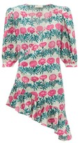 Adriana Degreas Flore Floral-print Silk-crepe Dress - Womens - Pink Print