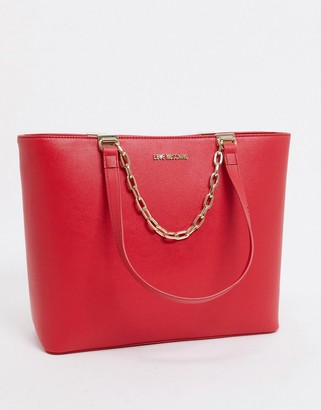 Love Moschino large tote bag with chain in red