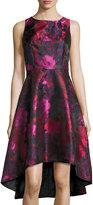 Chetta B Floral-Print Sleeveless High-Low Dress, Red Pattern