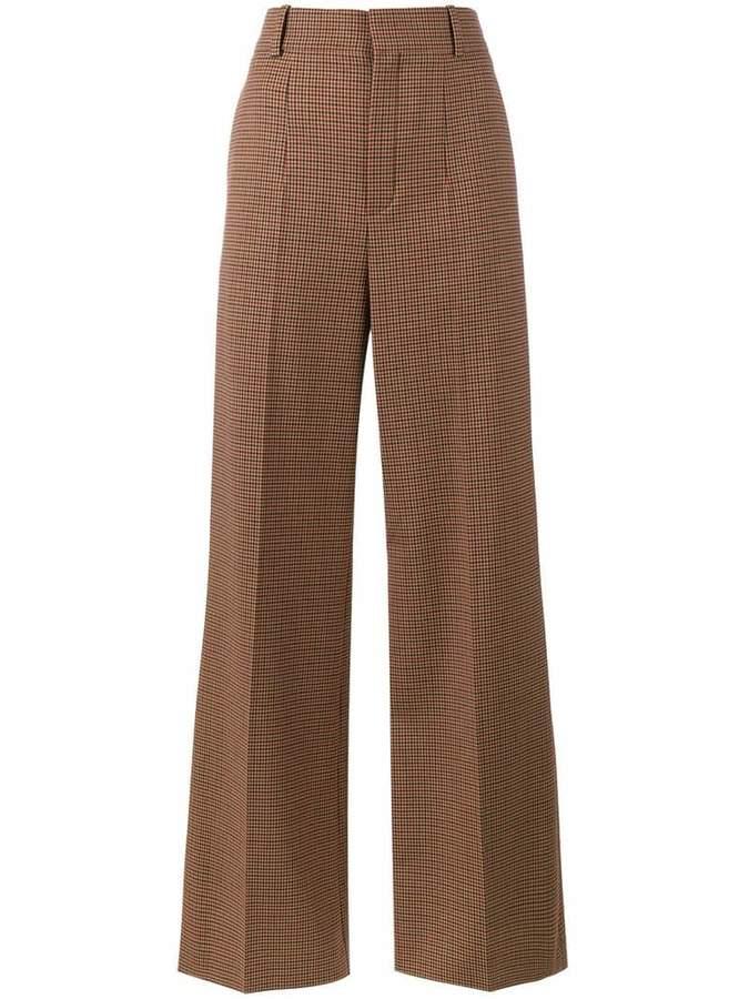 Chloé micro check wide-leg trousers