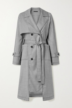 The R Collective - Net Sustain Wen Pan Dalston Belted Houndstooth Wool Trench Coat - Black