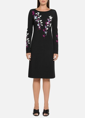 St. John Placed Floral Jacquard Dress