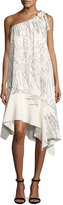 Halston One-Shoulder Flowy Printed Shift Dress