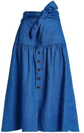 Sea Belted Gathered Linen Midi Skirt