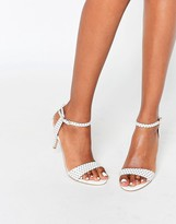 Carvela Kollude White Kitten Heeled Sandals