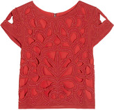Alice + Olivia Pollie cropped beaded cotton top