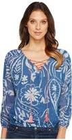 Lucky Brand Exploded Floral Peasant Top Women's Long Sleeve Pullover