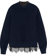 Sacai Lace-trimmed Cotton-blend Jersey And Laser-cut Poplin Sweatshirt - Navy