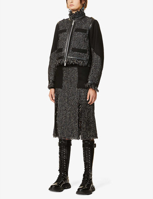Sacai Contrast-panel wool-blend jacket