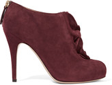 Valentino Ruffled suede ankle boots
