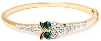 Peermont Jewelry Goldplated Green Quartz Austrian Crystal Owl Bangle Bracelet - Gold