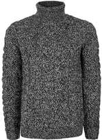 Topman Black and White Twist Textured Turtle Neck Sweater
