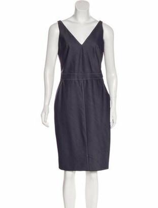 Richard Tyler Chambray Knee-Length Dress Blue