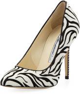 Brian Atwood Zebra Calf-Hair Point-Toe Pump