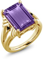 Gem Stone King 7.13 Ct Octagon Purple Amethyst Black Diamond 18K Yellow Gold Plated Silver Ring