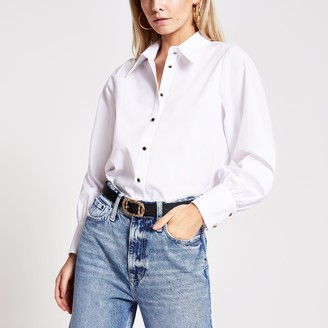 River Island Womens Petite White long sleeve shirt