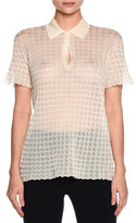 Giorgio Armani Sheer Windowpane Polo Shirt, Ivory