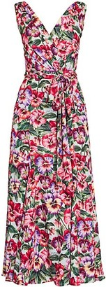 Dolce & Gabbana Charmeuse Floral-Print Wrap Dress