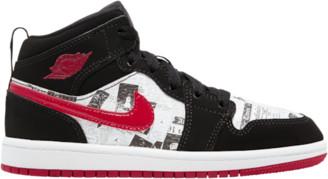Jordan AJ 1 Mid SE Basketball Shoes - Black / Gym Red / White
