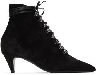 Saint Laurent Black Lace Up Ally Boots