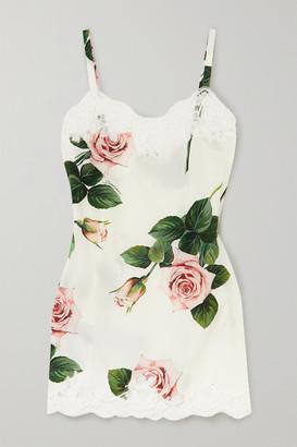 Dolce & Gabbana Lace-trimmed Floral-print Silk-blend Chemise - Cream