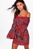 boohoo Petite Claire Woven Paisley Off The Shoulder Dress red