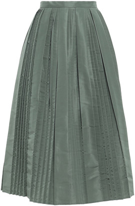 RED Valentino Flared Pleated Faille Midi Skirt