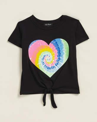 Miss Popular (Toddler Girls) Tie-Dye Heart Tie-Front Short Sleeve Tee