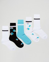 Asos Tube Style Socks With Pastel Geo Design 5 Pack