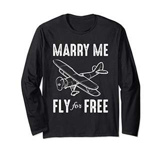 Fly London Marry Me For Free | Pilot & Flight Attendant Marriage Long Sleeve T-Shirt