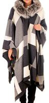Black Geometric Cashmere and Wool Hooded Cape with Fur Trim