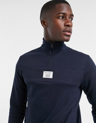 Jack and Jones Core sweater with 1/4 zip in white