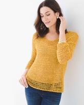 Chico's Ribbon Yarn Sweater in Glistening Yellow