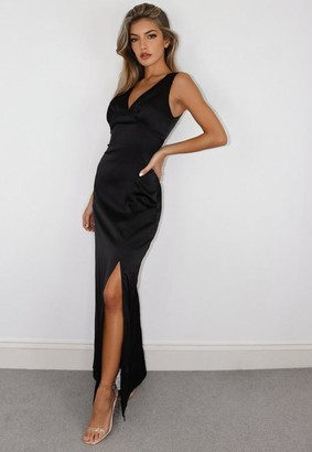 Missguided Black Gathered Ruched Bust Satin Dress