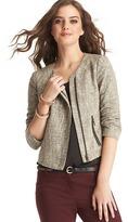 LOFT Petite Tweed Asymmetrical Zip Jacket