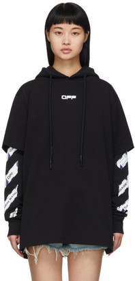 Off-White Black Airport Tape Double T-Shirt Hoodie
