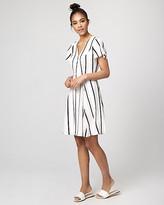 Le Château Stripe Crepe de Chine V-Neck Dress