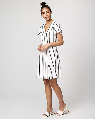 Le Château Stripe Crepe de Chine V-Neck Dress