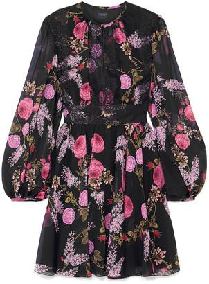 Giambattista Valli Lace-trimmed Floral-print Silk-georgette Mini Dress