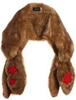 Simone Rocha Bead-embellished bow faux-fur scarf