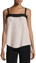 See by Chloe Pleated-Trim Square-Neck Tank, Taupe/Black