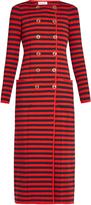 Sonia Rykiel Double-breasted striped-knit cardigan coat
