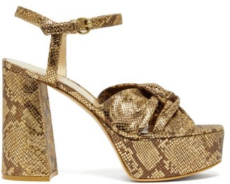Gianvito Rossi Dallas 70 Knotted Python Effect Leather Sandals - Womens - Gold