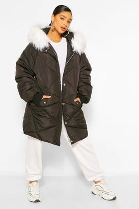 boohoo Plus Faux Fur Hooded Mid Length Puffer Coat