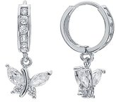 FreshTrends Abstract CZ Butterfly .925 Sterling Silver Dangle Huggie Earrings