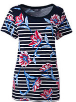 Lands' End Women's Tall Short Sleeve Mixed Stripe Tee-Radiant Navy Floral Stripe