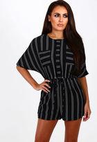 Pink Boutique City Slick Monochrome Stripe Tie Waist Playsuit