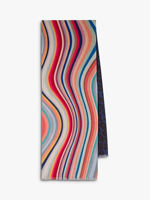 Paul Smith Double Swirl Stripe and Leopard Print Scarf, Multi