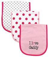 Luvable Friends Pink & White Polka Dot 'I Love Daddy' Burp Cloth Set