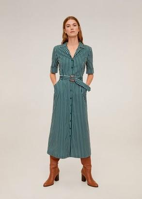 MANGO Striped shirt dress emerald green - 6 - Women